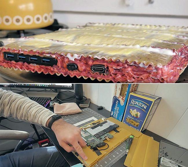 "USAN PASTA PARA CONSTRUIR UNA COMPUTADORA FUNCIONAL, LLAMADA ""LASAGNA PC V.1"""